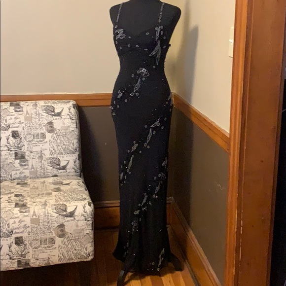 Cache Dresses & Skirts - Cache SIZE 2 100% silk black and beaded long dress
